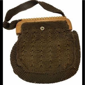 BOGO Free🌻Knitted purse brooch and wood opening